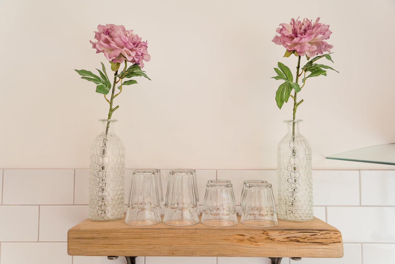 Vase & Cups on Kitchen Shelf